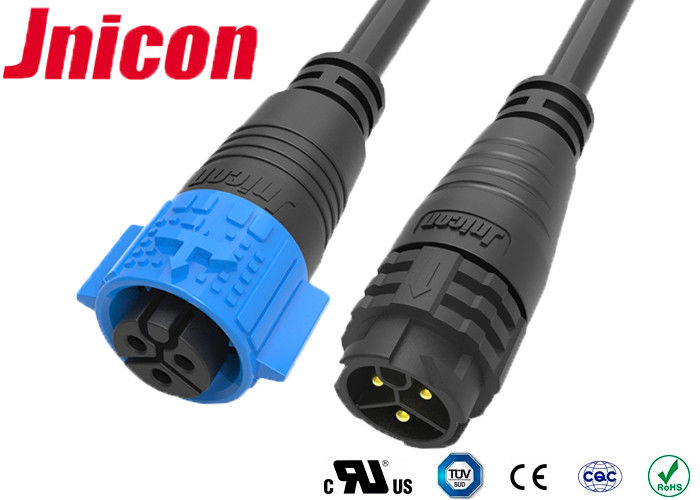 3 Pin Male To Female Molded Cable Connector 20A Current Rating RoHS Approved